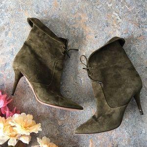 Aquazzura Tribeca Green Suede Boots w/ Heel